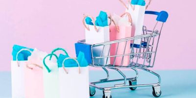 Shopping bags and cart